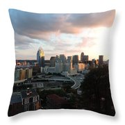 Cincinnati Skyline At Sunset Form The Top Of Mount Adams Throw Pillow