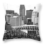 Cincinnati Skyline Black And White Picture Throw Pillow by Paul Velgos