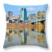 Cincinnati Skyline Reflects Throw Pillow