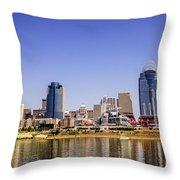 Cincinnati Skyline Riverfront Downtown Office Buildings Throw Pillow