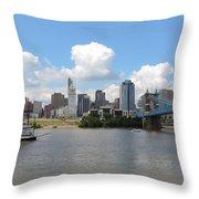 Cincinnati Skyline With A Boat Throw Pillow
