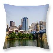 Cincinnati Skyline With Roebling Bridge Throw Pillow