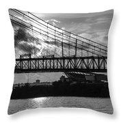 Cincinnati Suspension Bridge Black And White Throw Pillow by Mary Carol Story