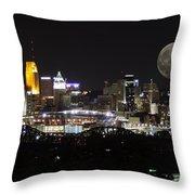Cincinnati With The Moon 2 Throw Pillow