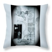 Cinco De Mayo Mural Oury Park Tucson Arizona 1977 Vignetted 2007 Throw Pillow