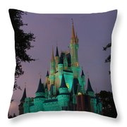 Cinderella Castle At Night  Throw Pillow