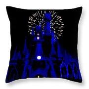 Cinderella Castle Fireworks Throw Pillow