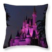 Cinderella Castle Illuminated In Pink Glow Throw Pillow