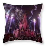 Cinderella's Castle With Fireworks Throw Pillow by Adam Romanowicz