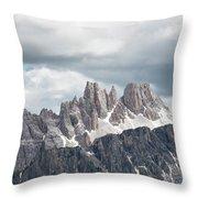 Cinque Torri Area In The Dolomites Throw Pillow