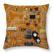 Circiruit Board Macro Throw Pillow by Amy Cicconi