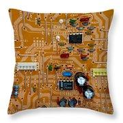 Circiruit Board Macro Throw Pillow