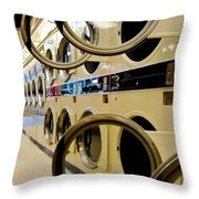 Circular Doors On Laundromat Washing Machines Throw Pillow