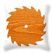 Circular Saw Blade With Pine Wood Texture Throw Pillow