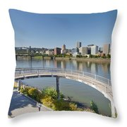 Circular Walkway On Portland Eastbank Esplanade Throw Pillow