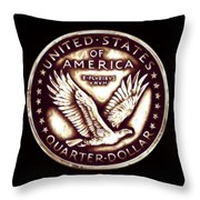 Circulated Standing Liberty  Reverse Throw Pillow