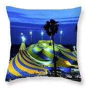 Circus Tent Swirls Of Blue Yellow Original Fine Art Photography Print  Throw Pillow