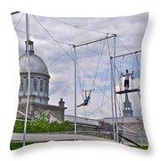 Cirque Carpe Diem Near Quays Along Saint Lawrence River In Montreal-qc Throw Pillow