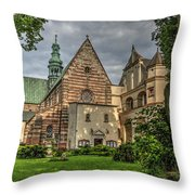 Cistercian Church From 12th And 13th Century In Wachock In Poland Throw Pillow