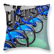 Citibike Rentals Nyc Throw Pillow