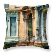 Cities - Albany Ny Brownstone Throw Pillow