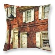 Cities - Philadelphia Brownstone Throw Pillow