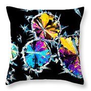 Citric Acid Crystals In Polarized Light Throw Pillow