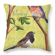 Citron Songbirds 1 Throw Pillow by Debbie DeWitt