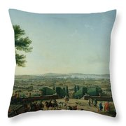 City And Port Of Toulon, 1756 Oil On Canvas Throw Pillow