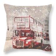 City-art London Red Buses II Throw Pillow by Melanie Viola