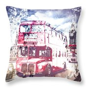 City-art London Red Buses On Westminster Bridge Throw Pillow