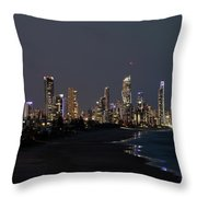 City At The Waterfront At Night Throw Pillow