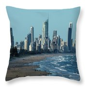 City At The Waterfront, Surfers Throw Pillow