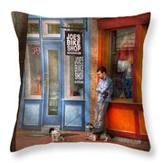 City - Baltimore Md - Waiting By Joe's Bike Shop  Throw Pillow