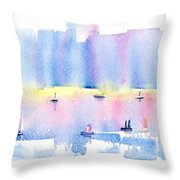 City By The Sea Throw Pillow