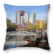 City Centre Of Rotterdam In Netherlands Throw Pillow