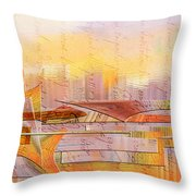 City Commerce Panoramic Throw Pillow