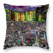City Dawn Art Cityscape  Throw Pillow