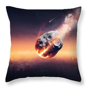 City Destroyed By Meteor Shower Throw Pillow