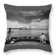 City Fishing Throw Pillow by Bob Orsillo