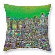 City Garden In Green Throw Pillow
