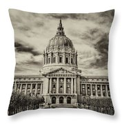 City Hall Antiqued Print Throw Pillow