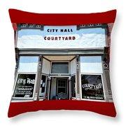 City Hall Courtyard Throw Pillow