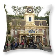 City Hall Main Street Disneyland Throw Pillow