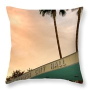 City Hall Sky Palm Springs City Hall Throw Pillow by William Dey