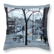 City In Snow Throw Pillow