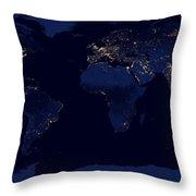 City Lights - Earth Throw Pillow