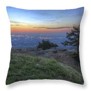 City Lights From Sunrise Point At Mt. Nebo - Arkansas Throw Pillow