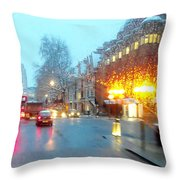 City Lights In London England Throw Pillow
