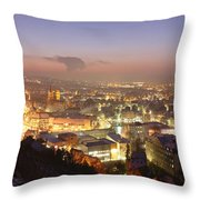 City Lit Up At Night, Esslingen Throw Pillow